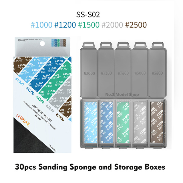 DSPIAE #180~#2500 Sanding Sponge Set Containing Storage Boxes Professional Sanding Equipment For Modeler Model Building Tool Sets TOOLS color: SS-S01|SS-S02