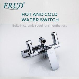 Image 4 - FRUD Hohe Qualität Chrome Bad Dusche Mixer Wasserhahn Drehen Badewanne Auslauf Bad Wand Halterung Regen Dusche System Mit Handbrause