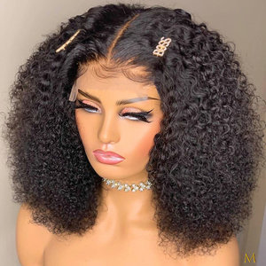 4*4 Lace Closure Wigs Human Hair Wigs For Black Women 150% Afro Kinky Curly BOB Wig Remy Black Knots Brazilian Hair Pre Plucked