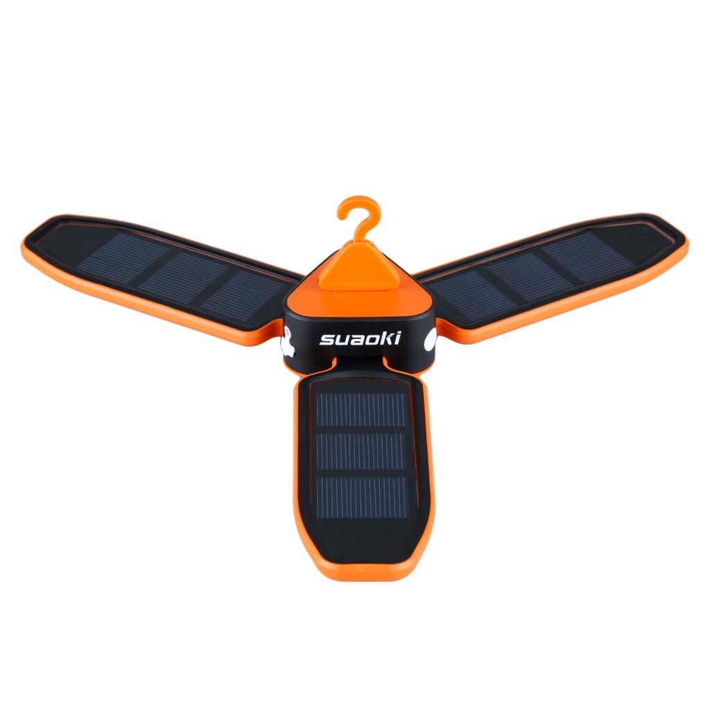LED Camping Lantern Light Clover Lamp Solar Panels Rechargeable Battery USB Port