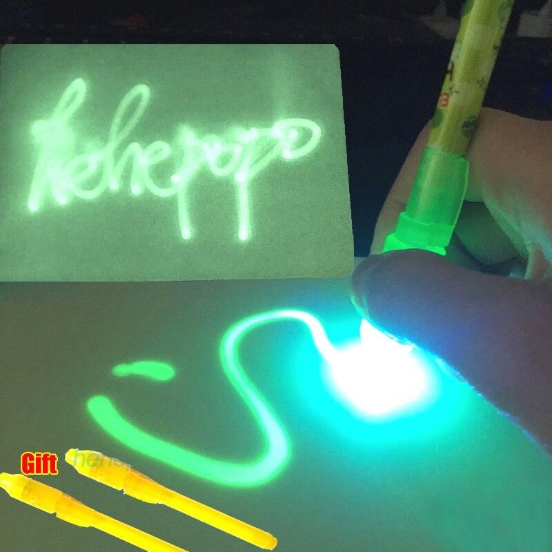 With Original Box A5 Enlgish Drawing Board Set 3PCS Luminous Pens Draw With Night Glow In Dark Magic Drawing Children Funny Toys