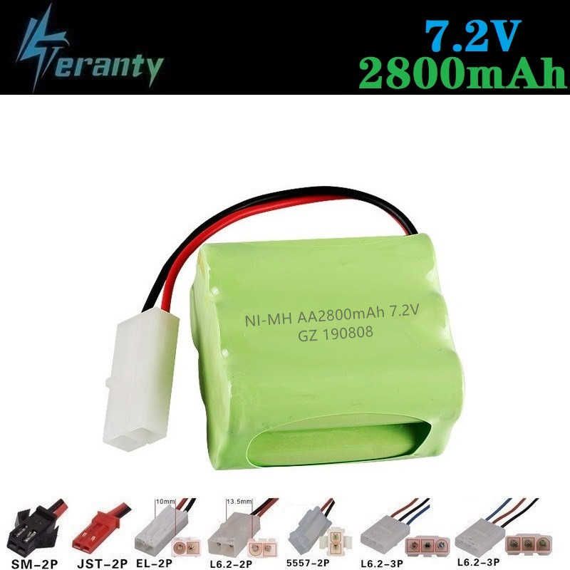 2800mah 7.2v Rechargeable Battery For Rc toys Cars Tanks Robots Gun NiMH Battery AA 7.2v 2400mah Batteries Pack For Rc Boat 1PCS