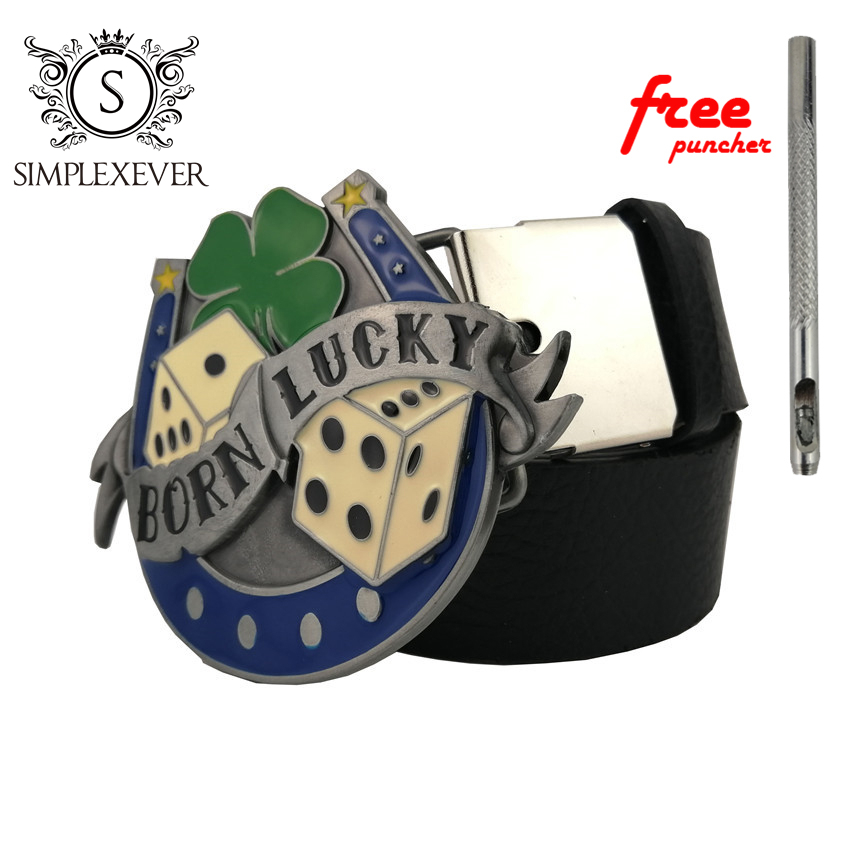 Men's PU Leather Belt With Good Luck Fashion Metal Belt Buckles