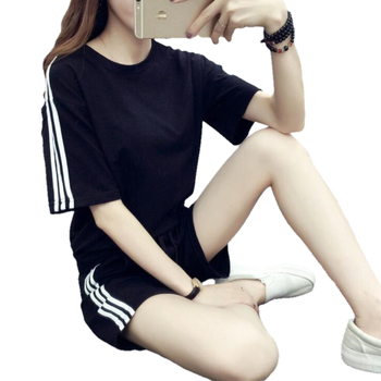 Women summer two piece tracksuit Short Sleeve Top and Elastic Waist Shorts Casual Outfit 1
