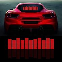 אדום מוסיקה קצב פלאש אור רכב LED אש קול הופעל חיישן אקולייזר שמשה אחורית מדבקת סטיילינג ניאון מנורה