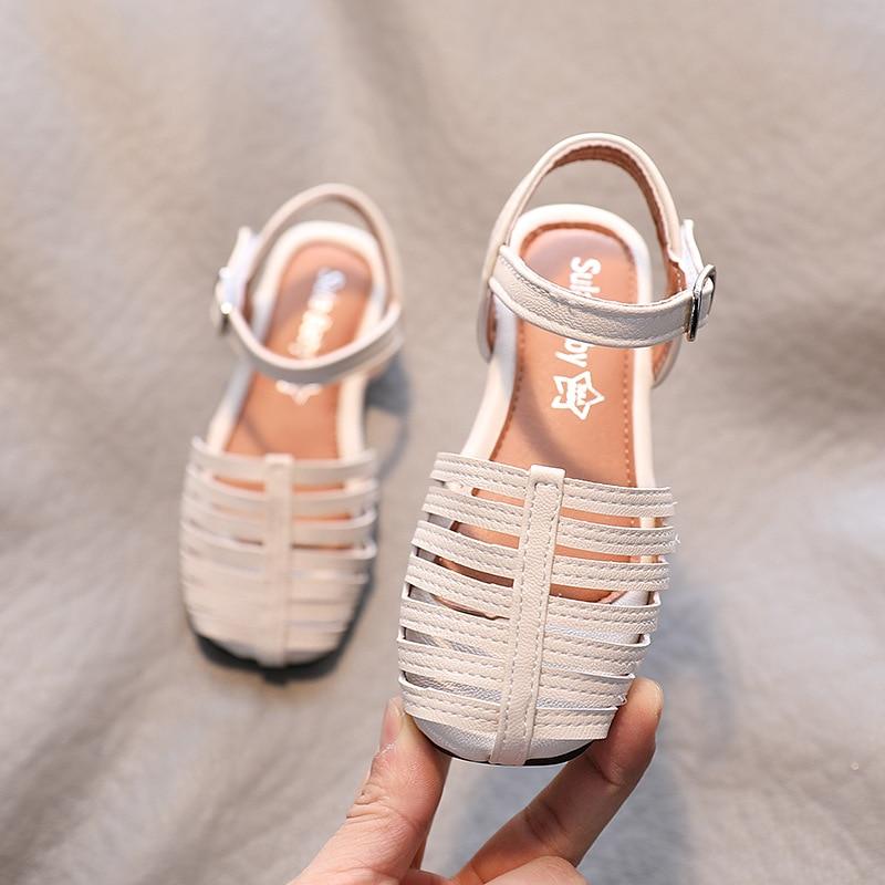 Girl Princess Flat Leather Shoes Roman