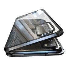 Luxe Magnetische Adsorptie Back Cover Voor Samsung Galaxy S20 Ultra S20 Plus Gehard Glas Ingebouwde Magneet Metalen Bumper case