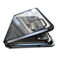 삼성 전자 갤럭시 S20 울트라 S20 플러스 강화 유리 내장 자석 금속 범퍼 케이스에 대한 고급 자기 흡착 뒷면 커버
