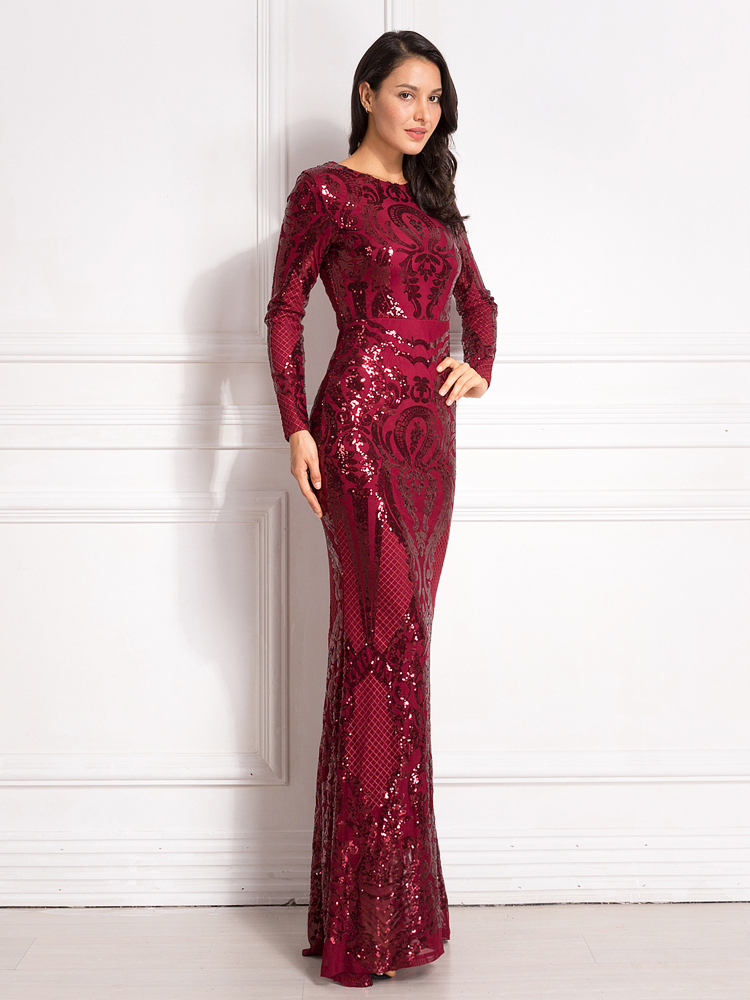 Sequined Maxi Dress Full Sleeved O Neck Stretchy Autumn Winter Long Evening Party Dress 10