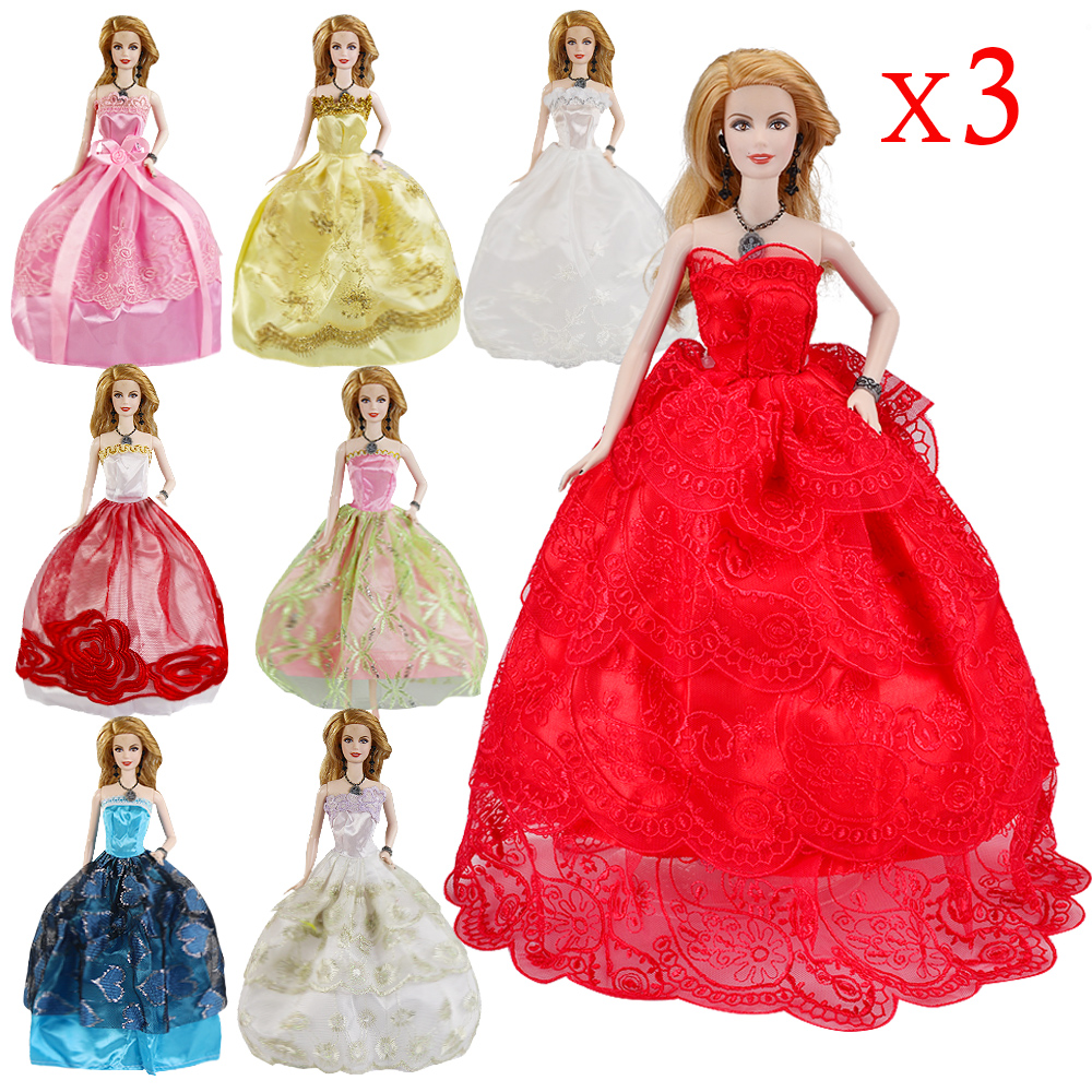3 Pcs High Quality Fashion Handmade Clothes Dresses Grows Outfit For Barbie Doll Accessories Girl Best Gift