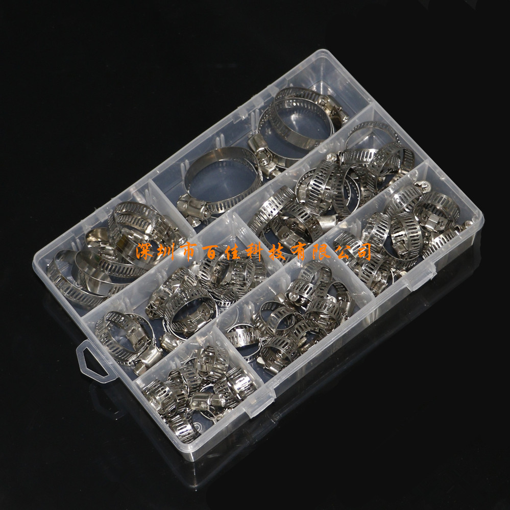 60pcs7 specifications stainless steel hoop ring box 8-38MM American throat hoop ring clamp hoop combination