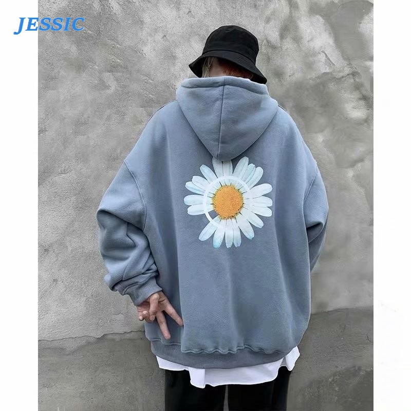 JESSIC Mens Harajuku Hoodies Spring Flower Print Fleece Thick Sweatshirts Male Autumn Korean Oversized Hoodies Streetwear