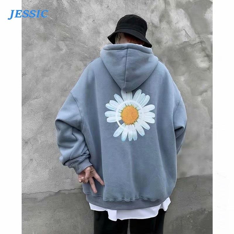 JESSIC Mens Harajuku Hoodies Spring Flower Print Fleece Thick Sweatshirts Male Autumn Korean Oversized Hoodies Streetwear