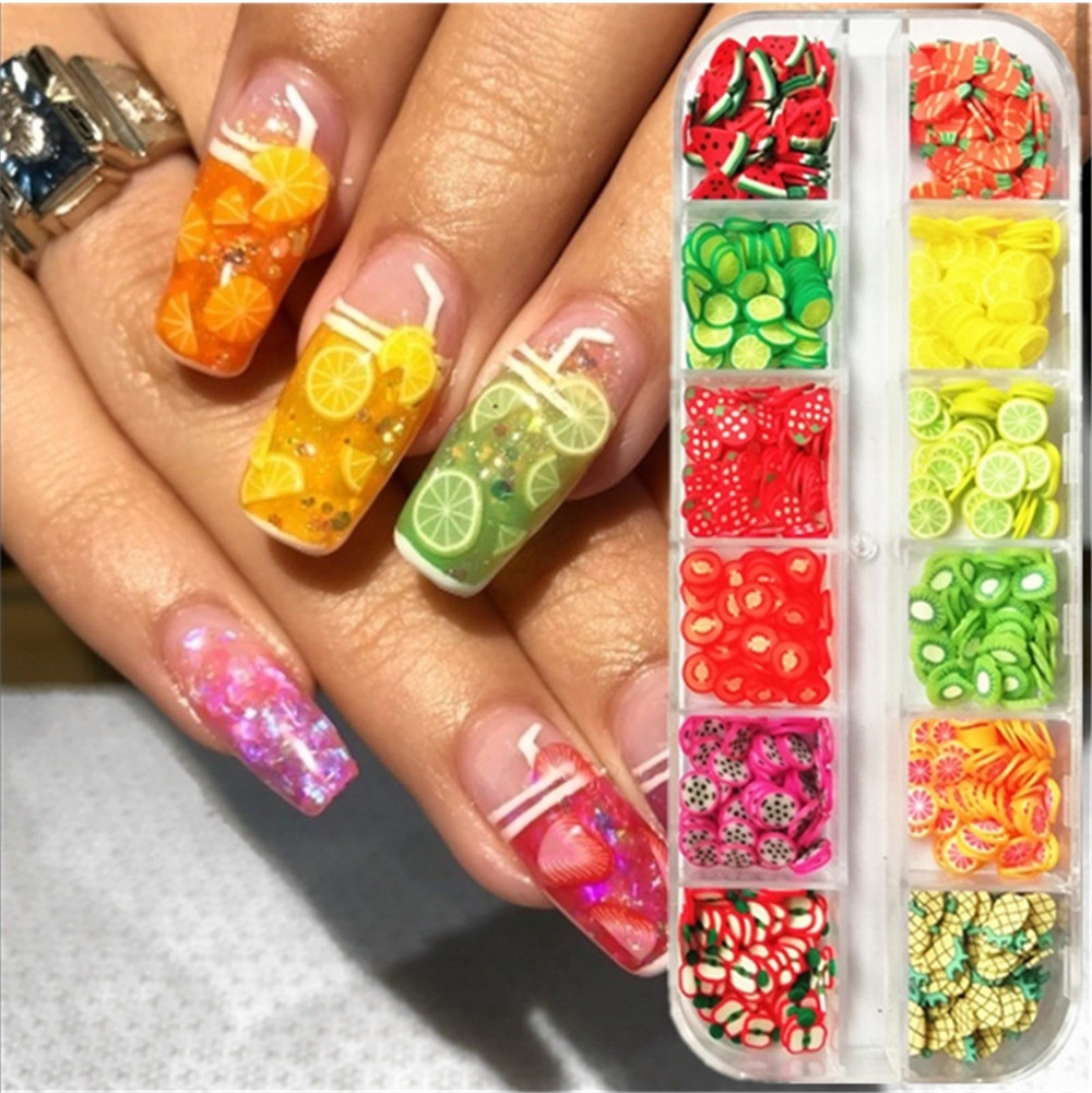 1Box Mixed Styles 3D Fruit Summer Fruit Fimo 3D Nail Decorations Colorful Nail Sparkl Lovely Watermelon Orange Strawberry Design