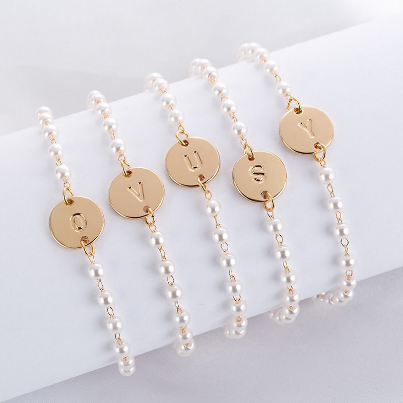 Personal Simple Tiny Initial Bracelets Dainty Golden Letter Dainty Bracelet Friendship Jewelry Round 26 Letter Bracelet 1PC