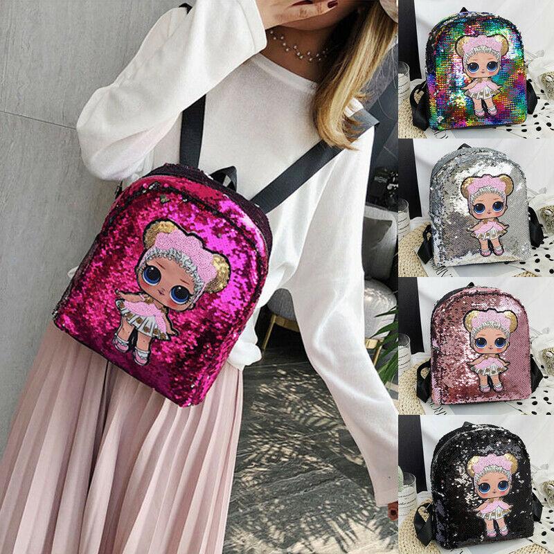 2019 New Women Fashion Backpack Sequin Glitter Shoulder School Rucksack Ladies Girls Shiny Travel Bag