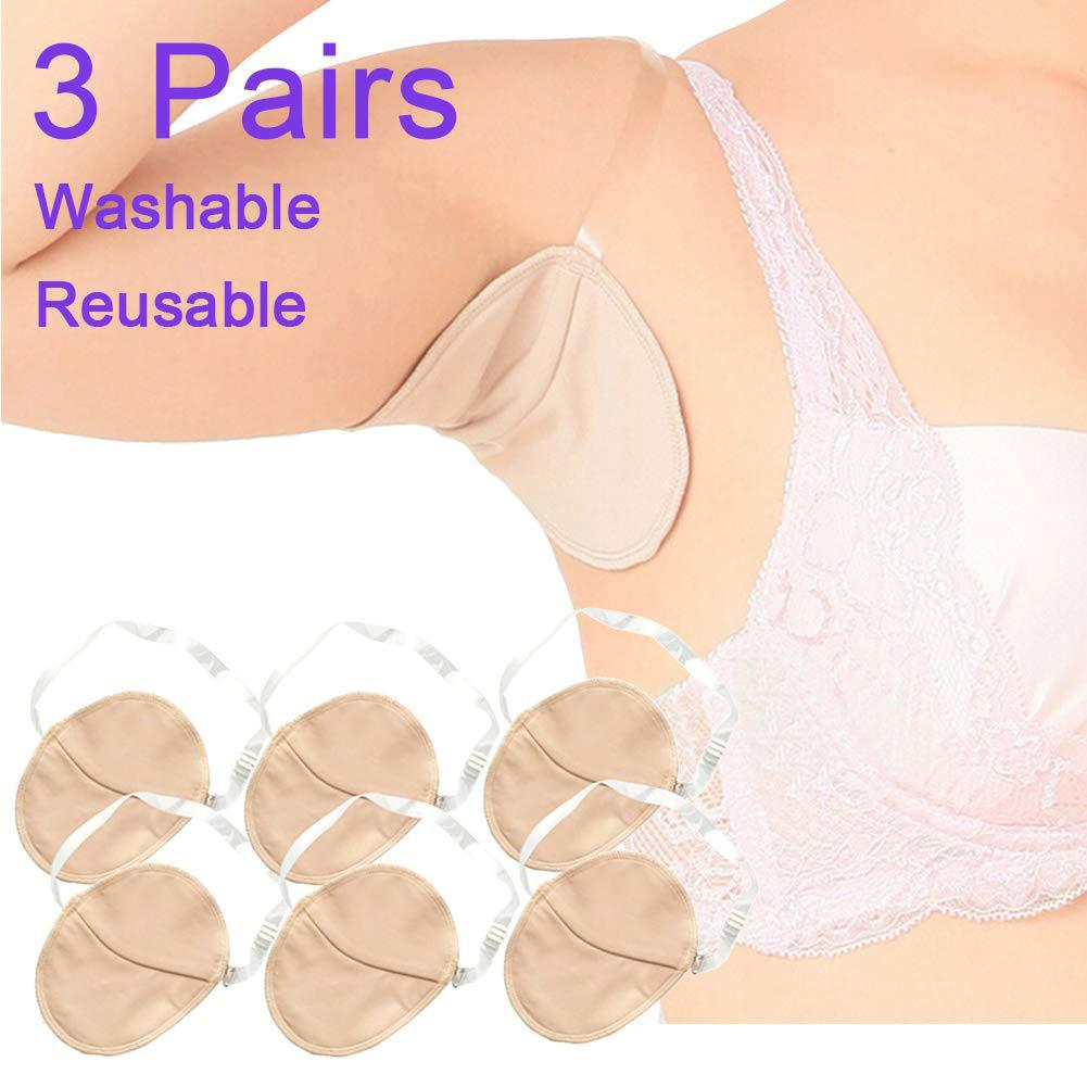 3 Pairs Sweat Armpit Pads Soft Washable Invisible Cushion Reusable Protector