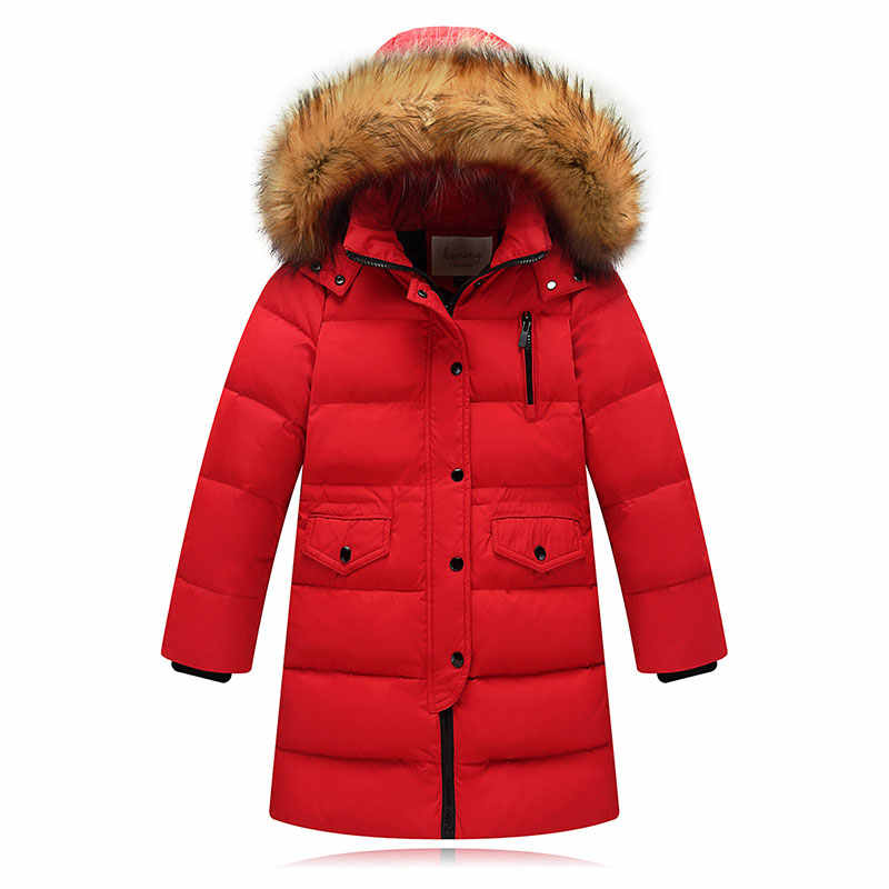 2-14 Yrs High quality 2019 long youth children winter duck down jacket for girl clothing boy coat parka kids clothes -30 degrees