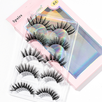 2020 New 15-25mm 3D Faux Mink Hair Cross False Eyelashes 5 Pairs Long Eye Lashes Handmade Thick Makeup Beauty Extension Tools