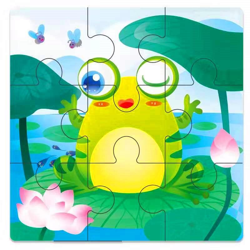 Мини Размер 11*11 см детская игрушка деревянная головоломка деревянная 3D головоломка для детей Детские Мультяшные животные/дорожные Пазлы обучающая игрушка - Цвет: Лимонно-желтый