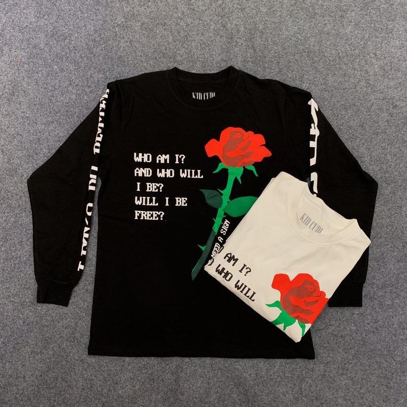 19SS CPFM. XYZ W.W.C.D t shirt manches longues 3D rose imprimé 1:1 haute qualité cpfm top t-shirts hommes femmes kanye west hip hop cpfm t-shirt