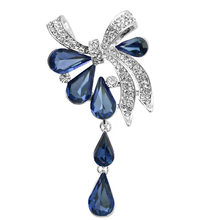 High-End Fashion Indah Kristal DROP Bow Bros Wanita Rhinestone DROP Gaya Klasik Mewah Rhinestone Bros Perhiasan(China)
