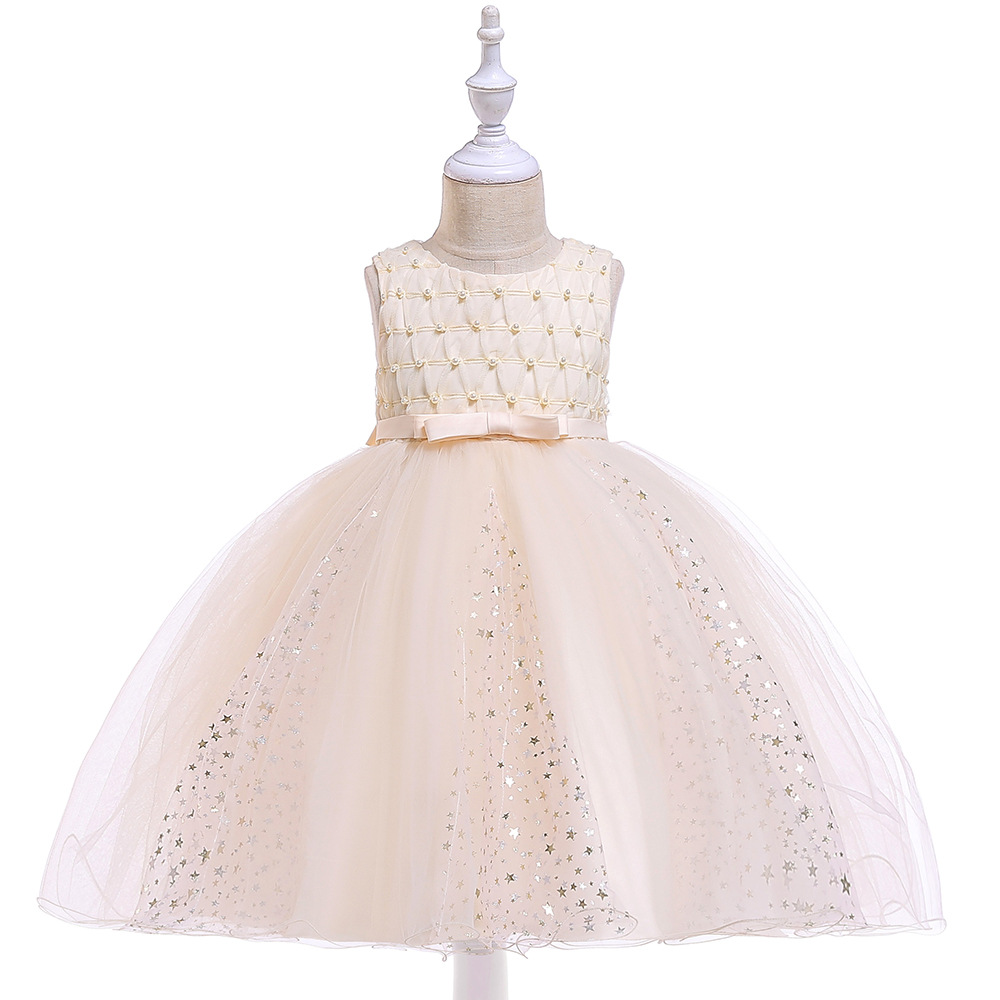 2019 CHILDREN'S Dress Bronze Gauze Princess Skirt Bow Beads Girls Puffy Wedding Dress Formal Dress