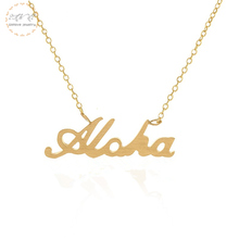 Beaches Jewelry Hawaiian Aloha Necklace Women Collar Mujer Stainless Steel Gold Necklaces Pendents Island Bijoux Welcome Gift