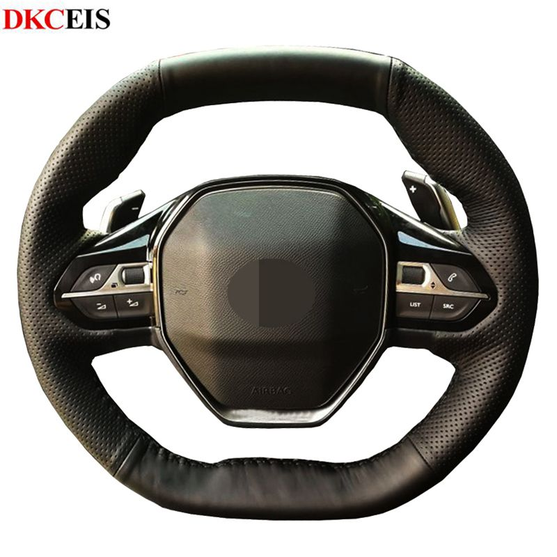 DIY Black Soft Artificial Leather Car Steering Wheel Cover for <font><b>Peugeot</b></font> 5008 4008 3008 2016-2019 <font><b>208</b></font> 508 2019 <font><b>2020</b></font> e-<font><b>208</b></font> <font><b>2020</b></font> image