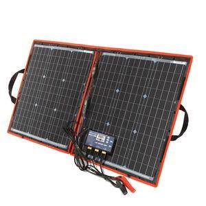 Image 2 - Dokio 80W (40*2pcs) 18V 유연한 접이식 태양 전지 패널 + 12V/24V 태양 컨트롤러 캠핑/여행에 대 한 휴대용 태양 전지 패널