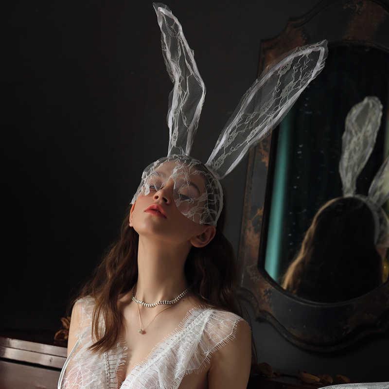 เซ็กซี่ Headwear ชุดชั้นในอุปกรณ์เสริมผมกระต่ายยาวหูลูกไม้น่ารักลึกลับ Temptation Rabbit Girl Eye หน้ากากฮาโลวีน