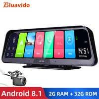 "Bluavido 10 ""IPS coche DVR Cámara GPS 4G Android 8,1 ADAS FHD 1080P cámara de salpicadero lente Dual grabadora de vídeo de coche visión nocturna visión remota"