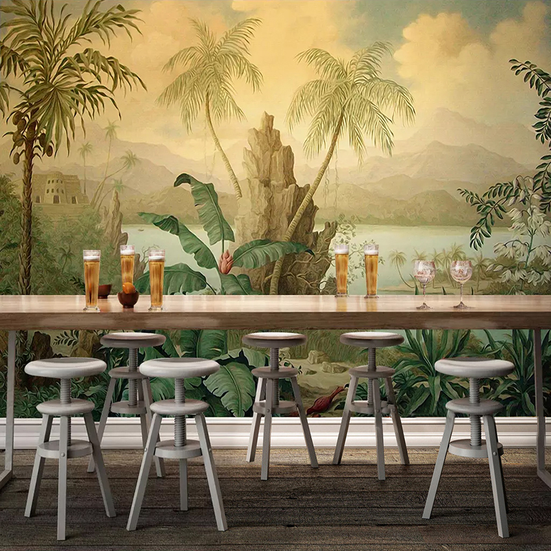 Custom 3D Wallpaper Art Wall Mural European Style Retro Landscape Oil Painting Tropical Rainforest Banana Coconut Tree Wallpaper