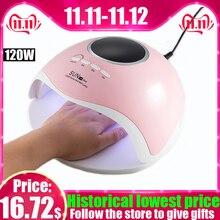 Lámpara LED UV de 120W para manicura para secador de uñas SUN Z18Plus pedicura para todo gel polaco LCD Smart Timing Sensor automático