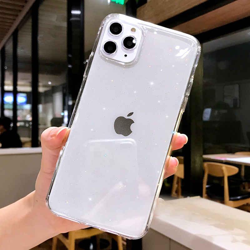 Lovebay עבור iPhone 11 מקרה שקוף גליטר עבור iPhone 7 8 6 6s בתוספת 11 פרו X XR XS מקסימום טלפון מקרה צבעים בוהקים רך Tpu כיסוי