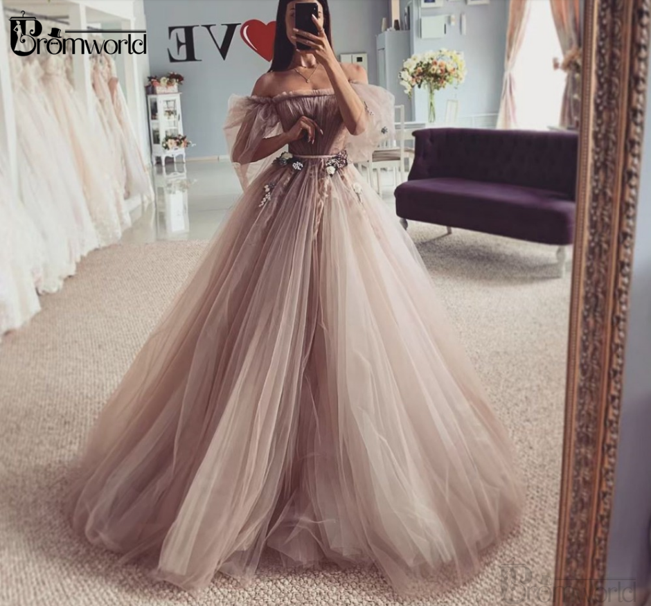 Princess Wedding Dresses 2020 New A-Line Tulle Wedding Gowns Strapless Flowers Vestidos De Novia Bride Dress Robe De Mariee