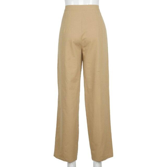 Streetwear Khaki Wide Leg Women Pants Casual Loose High Waist Flared Pants Ladies Long Trousers Pantalon Cargo Femme 6