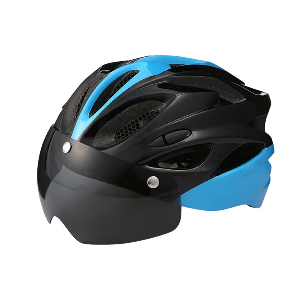 2019 New With Goggles Bicycle Helmet Riding Equipment Men'S Riding Integrated-Mold Lightweight Breathable Mountain Bike Helmet image