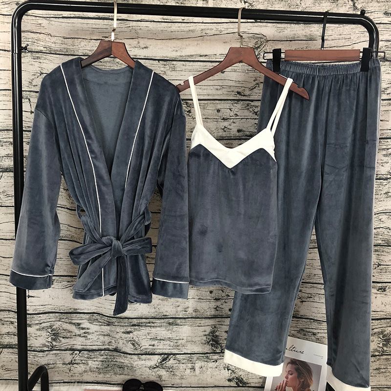 Flannel Velvet   Pajama     Set   Pyjamas Women Pink Winter Nightwear Bathrobe   Sets   Pants Kimono Bridesmaid Robes   Set
