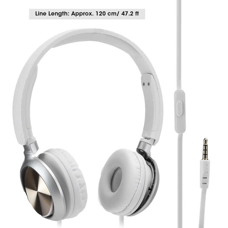 Wire Headphones Portable On Ear Headset Wired Gaming Call Music Handsfree Over Ear Headset 3.5mm port for phones, PC, computers