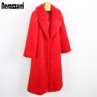 Nerazzurri Long faux fur coat women winter turn down collar white rabbit fur overcoat thicken warm plus size outwear 4xl 5xl 6xl