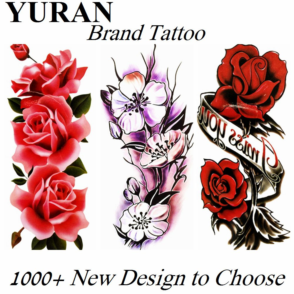 Large Sexy Lily Flower Temporary Tattoos Flower Rose Fake Sticker For Women Girls Waterproof Tattoo Paper Body Art Tatoo Armband
