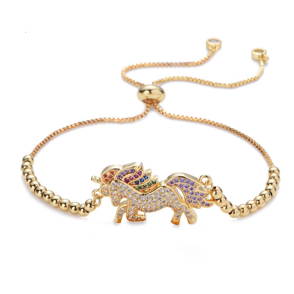 Novo arco-íris animal unicórnio borboleta coelho pulseiras & pulseiras jóias cz zircão ajustável cobra corrente pulseira melhor presente