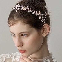 Hair-Accessories Halo Bridal-Headband Pearl-Hair Headpiece Flower Rhinestone Gold-Leaves