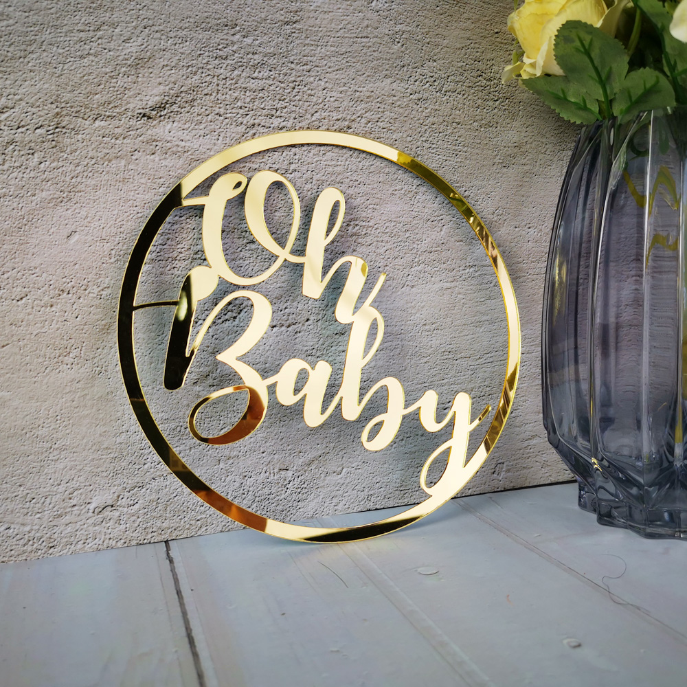 Oh Baby Circle Sign Acrylic Wood Mirror Rose Gold Name Sign for Baby Shower Party Decor Room Hanger Hoop Sign Baptism Favor image