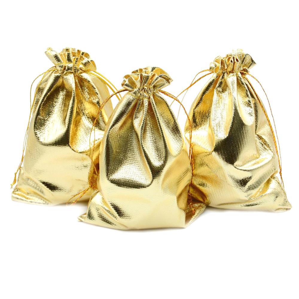 10pcs Gold Silver Jewelry Packing Display Drawstring Jewelry Bag Wedding Gift Bags & Pouches 7x9cm 9x12cm 10x15cm 20x30cm