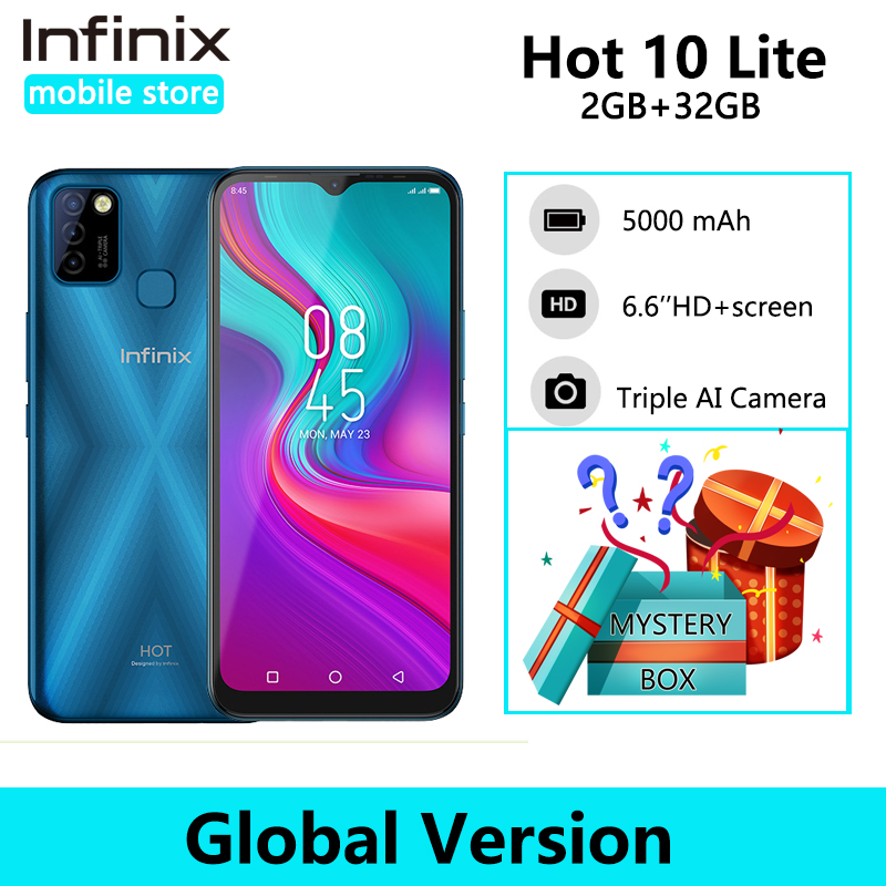 Смартфон глобальная версия Infinix Hot 10 Lite, 6,6 дюйма, HD-экран, аккумулятор 5000 мАч, 1600*720P, камера 13 МП, Helio A20