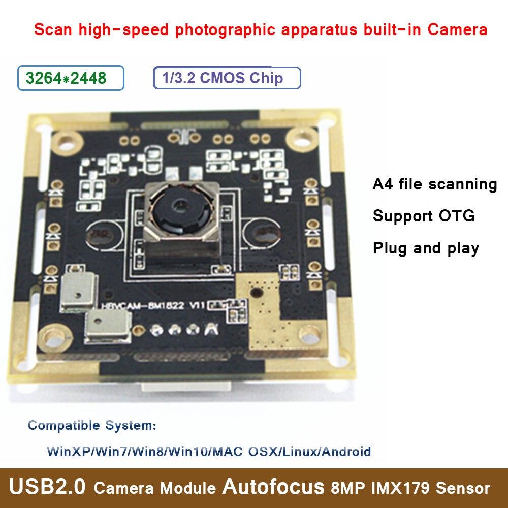 HBVCAM USB2.0 Module de caméra Autofocus 8MP IMX179 capteur A4 numérisation de fichiers appareil photographique à grande vitesse pour WinXP/Win7/Win8