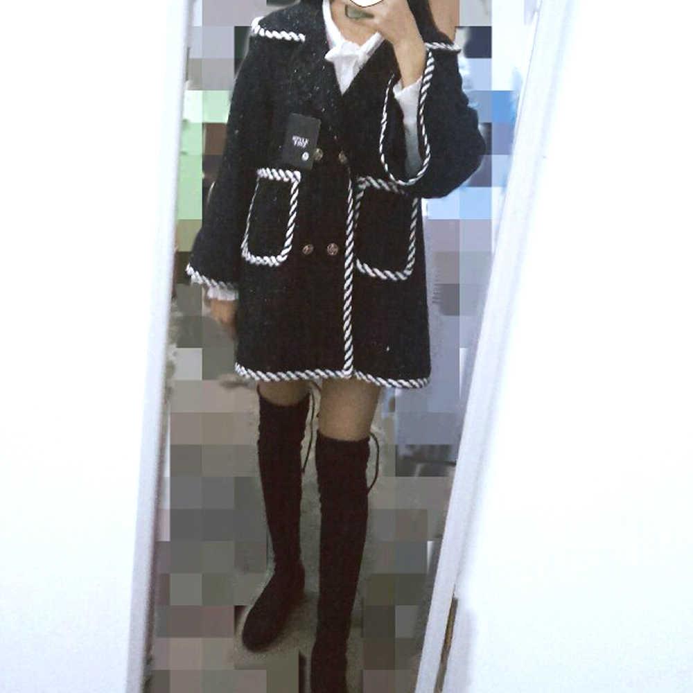Новинка, шерстяное пальто, женское осенне-зимнее пальто знаменитостей, маленькое ароматное твидовое пальто средней длины, Британский темперамент
