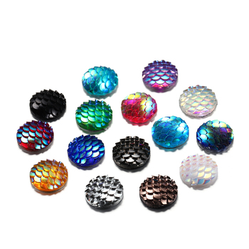 50Pcs/lot 12mm Mermaid Fish Scale Round Flat Back Resin Cabochons For Diy Jewelry Making Finding Supplies Accessories Pendant 50pcs lots cute fly horse flat back resin diy craft supplies for bow center decoration unicorn button earring jewelry ornament